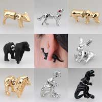 1 par de moda 18 estilos oro plata negro 3D encantador perro dinosaurio cerdo gorila conejo Lobo animales pendientes con tuerca para mujeres chica joyería