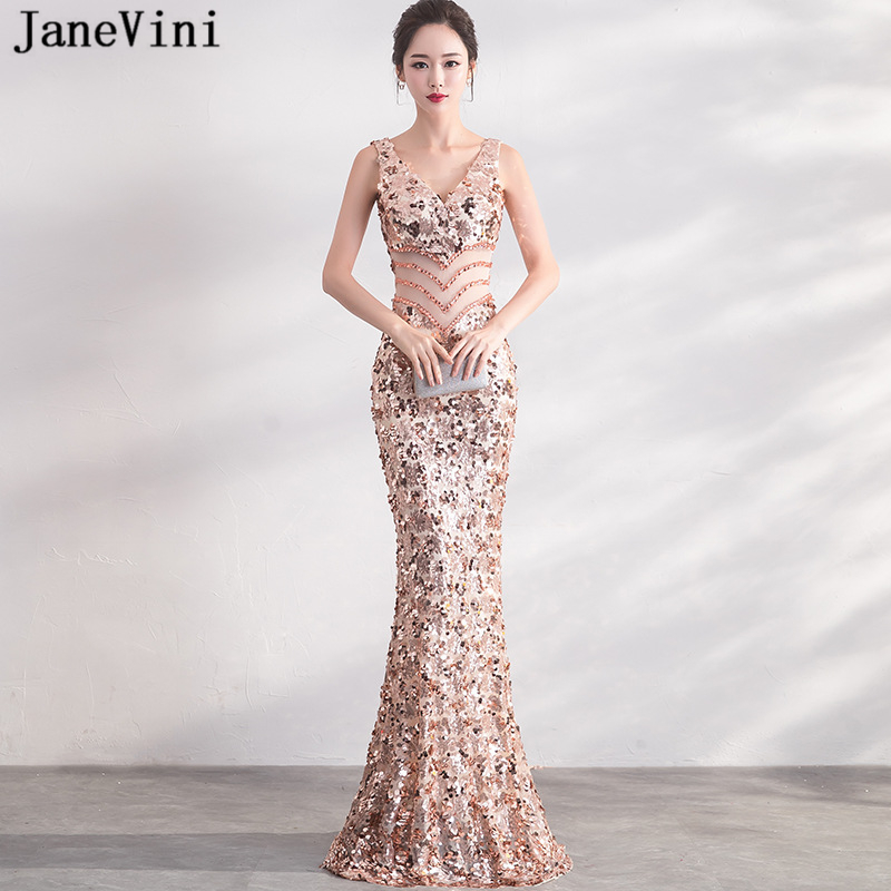 JaneVini 2018 Sparkly Rose Gold Sequins Long   Bridesmaid     Dresses   Sexy Deep V Neck Backless Mermaid Floor Length Formal Prom Gowns