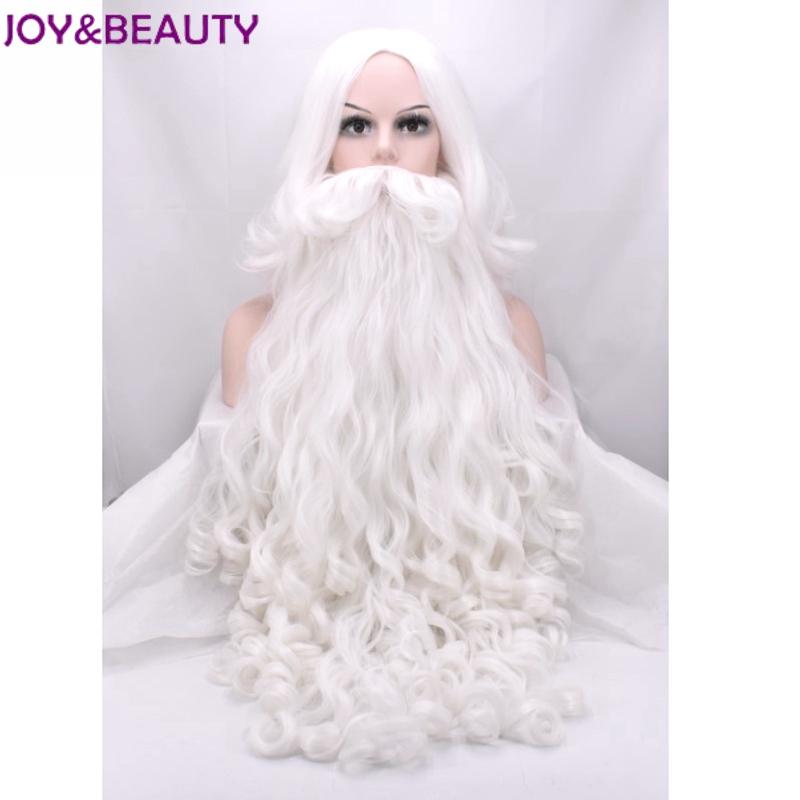 радость и красоты санта клаус длинные волнистые парик белый санта клаус борода набор фантазии высокое температура волокно косплэй парик