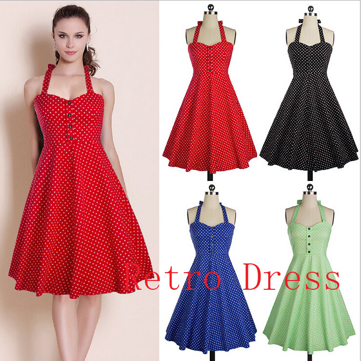 Summer Style Retro Audrey Hepburn dress Woman Vintage 50s 60s Dress Big Swing Polka Dot Backless Rockabilly