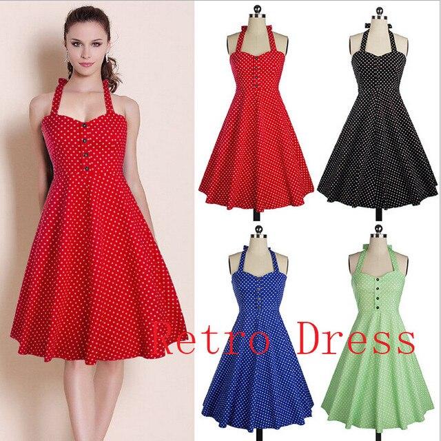 bd03afef0ee1d Summer Style Retro Audrey Hepburn dress Woman Vintage 50s 60s Dress Big  Swing Polka Dot Backless Rockabilly