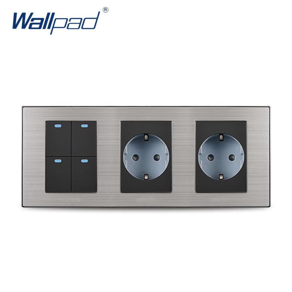 2018 Wallpad Hot Sale 4 Gang 2 Way Switch With 2 EU Socket Schuko Luxury Wall Electric Power Outlet German Standard 234*86mm