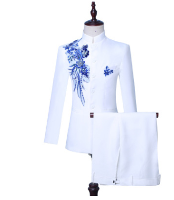 2019 (veste + pantalon) costume masculin marié mariage bal fête paillette rouge noir blanc instrument slim costumes blazers fleur formel