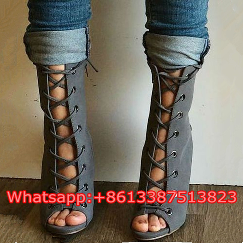 Sexy Women Booties Peep Toe Lace Up Slingbacks Gladiator Sandals Boots Summer Stiletto High Heels Women Ankle Boots Shoes Woman