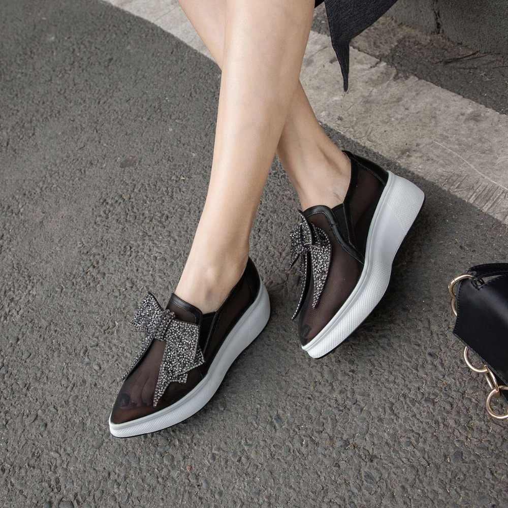 Krazing หม้อระบายอากาศได้ดี pointed toe slip บน loafers ตกแต่งคริสตัล butterfly - knot loafers ตาข่าย vulcanized รองเท้า L01