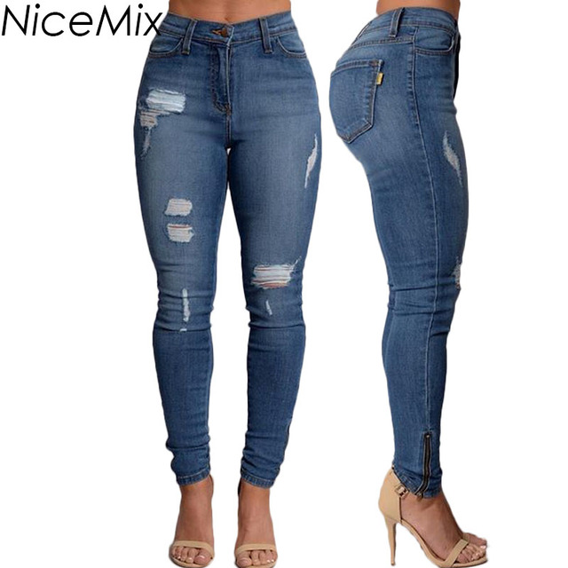 9016f8bd63 NiceMix 2019 Casual Ripped Jeans For Women Skinny Pencil Pants Blue Slim  Jeans Woman Denim Jeans Femme Calca Feminina