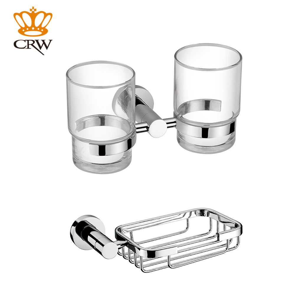 CRW Toothbrush Holder Double Bathroom Tumbler Cup Soap Dish Holder Basket  Wall Mount Chrome Bathroom Accessory