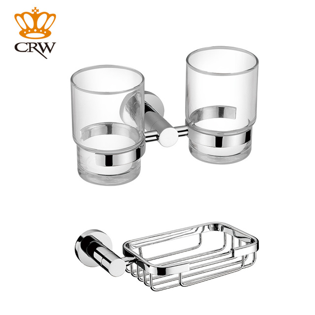 Attractive CRW Toothbrush Holder Double Bathroom Tumbler Cup Soap Dish Holder Basket  Wall Mount Chrome Bathroom Accessory