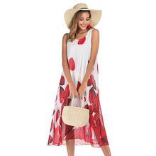 2019 New Yfashion Women Casual Sleeveless Round Collar Pinting Chiffon Dress Top Selling