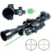 Hunting Riflescope 3 9x40 Combo Mil Dot Illuminated Airsoft Rifle Gun Scope Snipe Scopes Green Laser