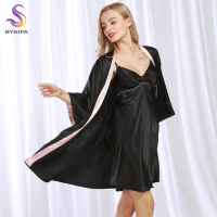 Summer Ladies Silver Black Silk Robes New Home Apparel Women Satin Robes Set Spring Autumn Silky
