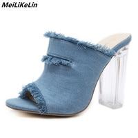 2018 New Spring Denim Mules Shoes Women Crystal Heel Block High Heels Open Toed Lace Side