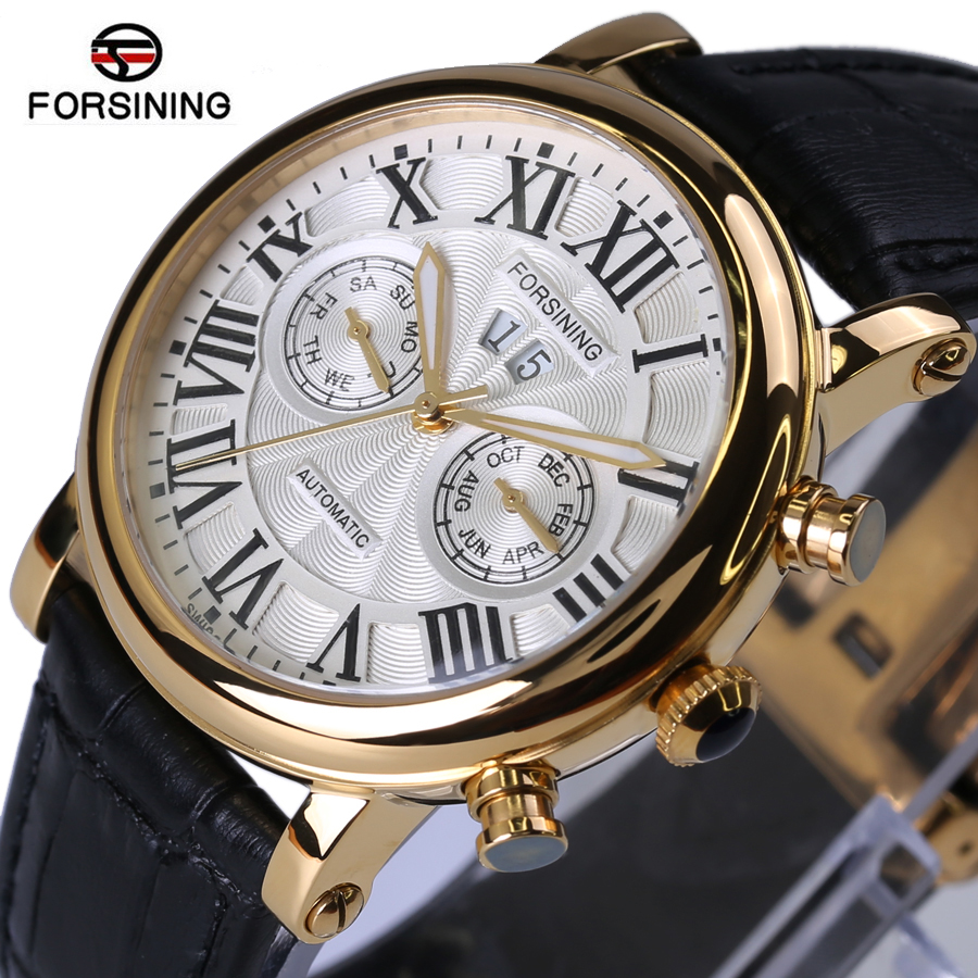 Forsining 2018 New Luxury Brand Design Sapphire Glass Surface Gold Case Mens Watches Top Brand Luxury Automatic Watch Series forsining 3d skeleton twisting design golden movement inside transparent case mens watches top brand luxury automatic watches