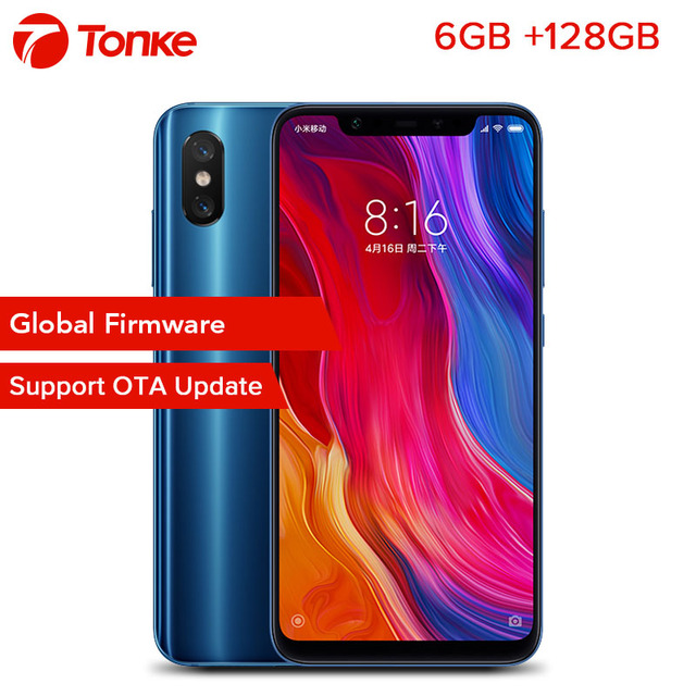 "OTA Firmware Global Xiao mi mi mi 8 6 gb de RAM 128 gb ROM Telefone 8 Snapdragon 845 Núcleo octa 6.21 ""2148x1080 p ID de Impressão Digital"