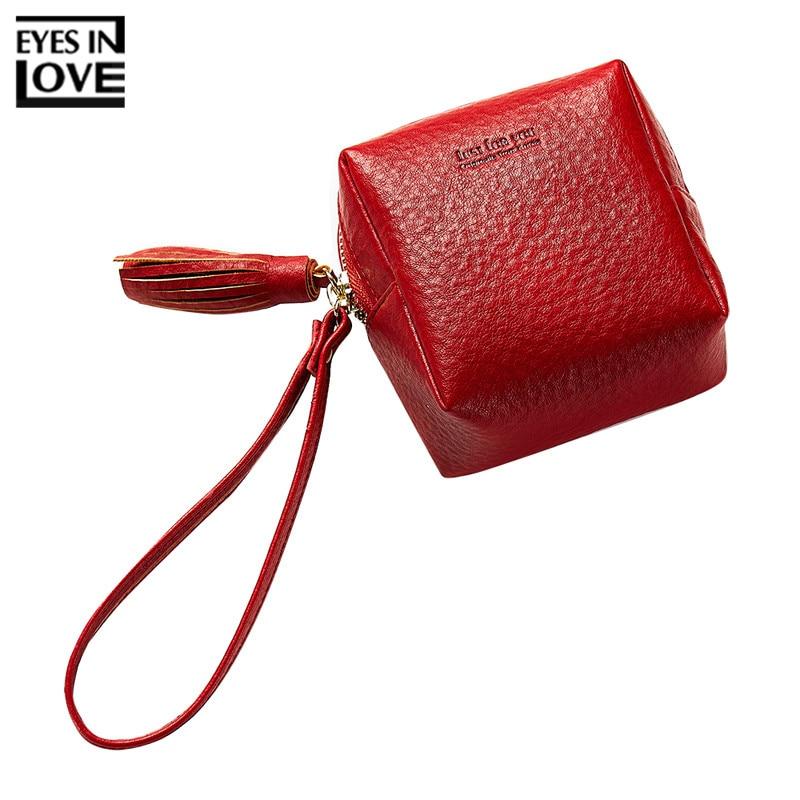EYES IN LOVE Tassel Zipper Mini Handbag For Women Purses Cute Wristband Small Clutch Wallets Lady Solid Money Purse Bags