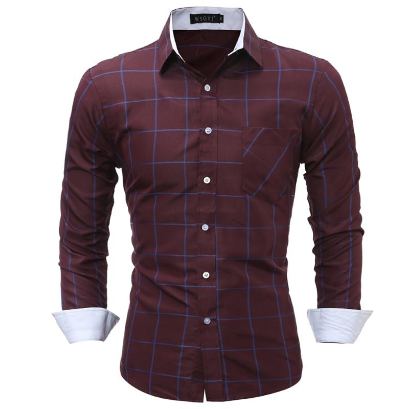 Plaid Shirt 2018 New Fashion Brand Men Shirt Lattice Dress Shirt Long Sleeve Slim Fit Camisa Masculina Casual Male Shirts 3XL
