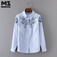 Mooishe Spring Casual Women Shirts Tops Long Embroidered Sleeve Polo Neck Stripes Blue Women FloralShirts Tops