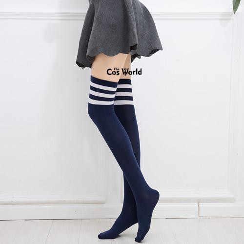 16 Warna Wanita Musim Gugur Musim Dingin Pemanasan Stripes Kaus Kaki Di Atas Lutut Kaos Kaki Level Tertinggi untuk Anime Seragam Sekolah