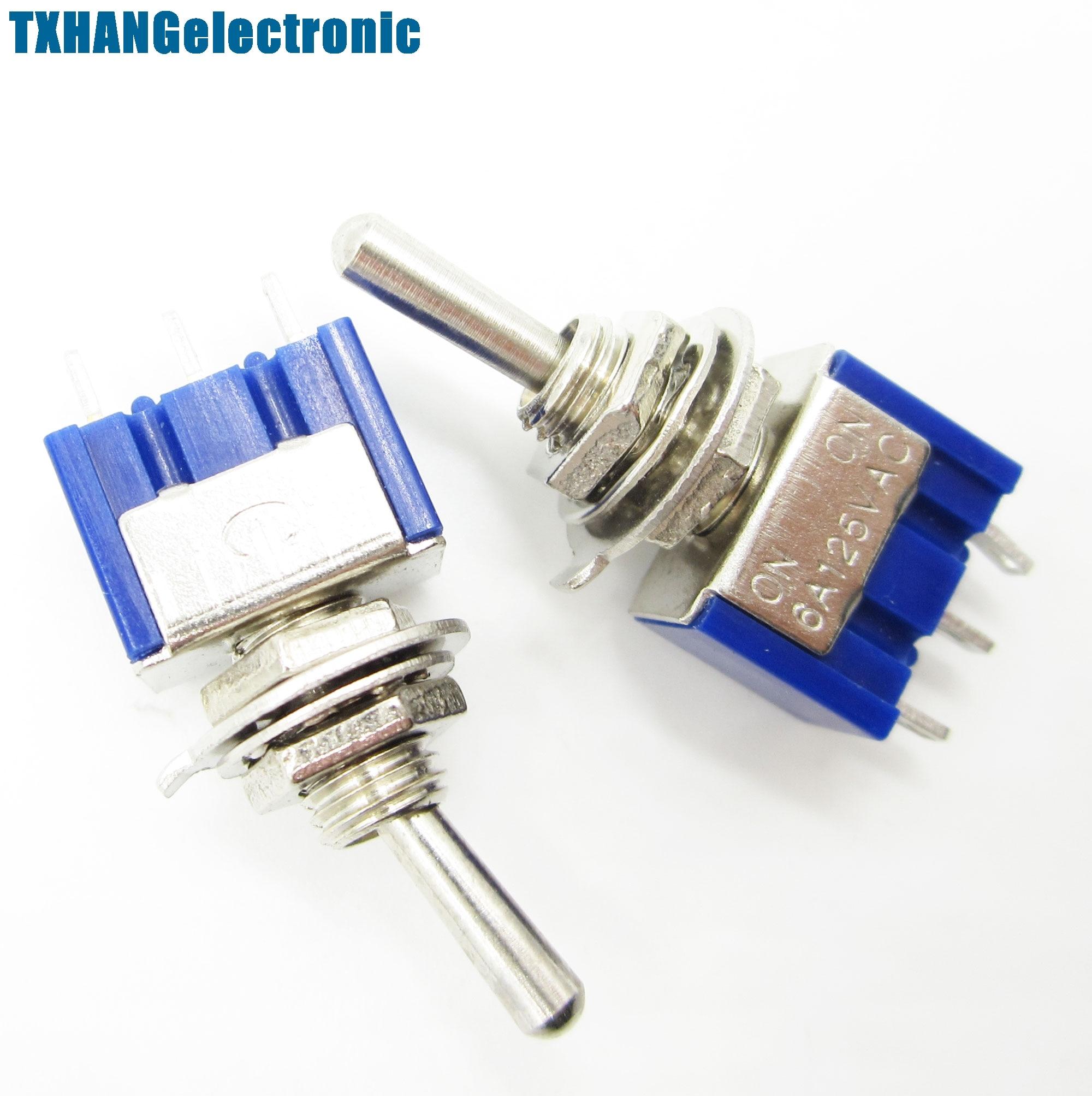 Interruptores de palanca prácticos Mini 6A 125VAC SPDT MTS-102, 3 pines, 2 posiciones, 10 Uds.
