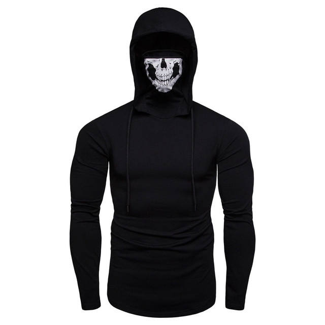 Mens Mask Skull Pure Color Pullover Long Sleeve Hooded Sweatshirt 1