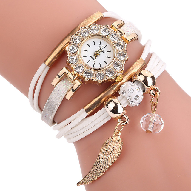 Women Fashion Casual Analog Quartz Wristwatches Gold feather Shape Bracelet Watc