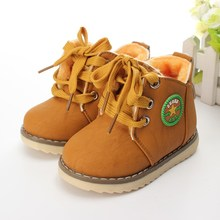 2016 Motorcycle Boys Girls Kids Plush Hand Stitching Cotton Shoes ankle Boots Childrens snow Boots Warm Leather Botas