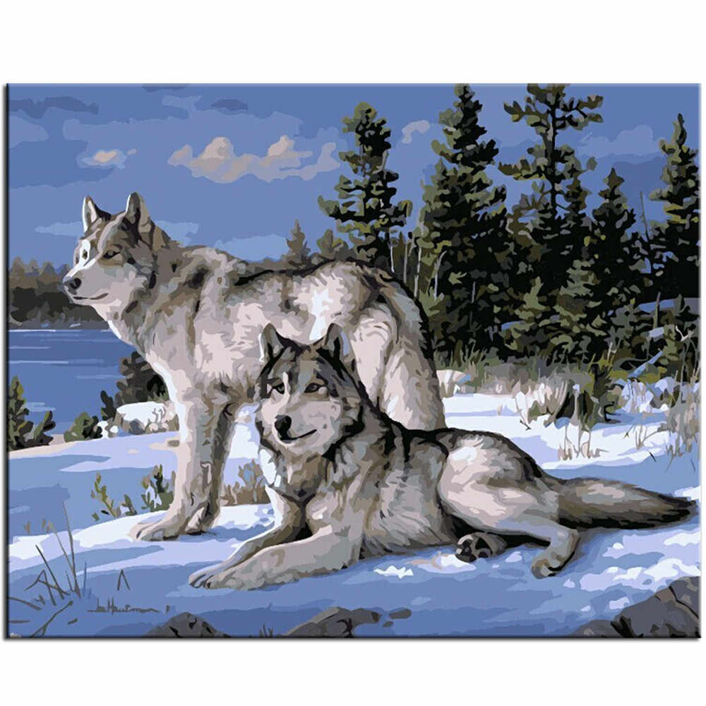 WEEN Two snow wolves oil painting by numbers kit on canvas,DIY Paint by numbers with frame,  Home wall art picture 40X50cm