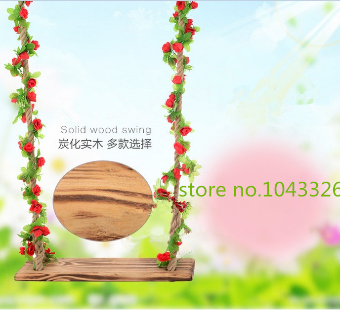 Indoor outdoor children's gift swing adults rope swing home use anticorrosive solid carbide wood swing