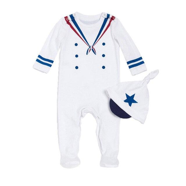Menino de Algodão Do Bebê recém-nascido Roupa de Marinheiro da Marinha  Estilo Estrela Chapéu d2a5933b77d