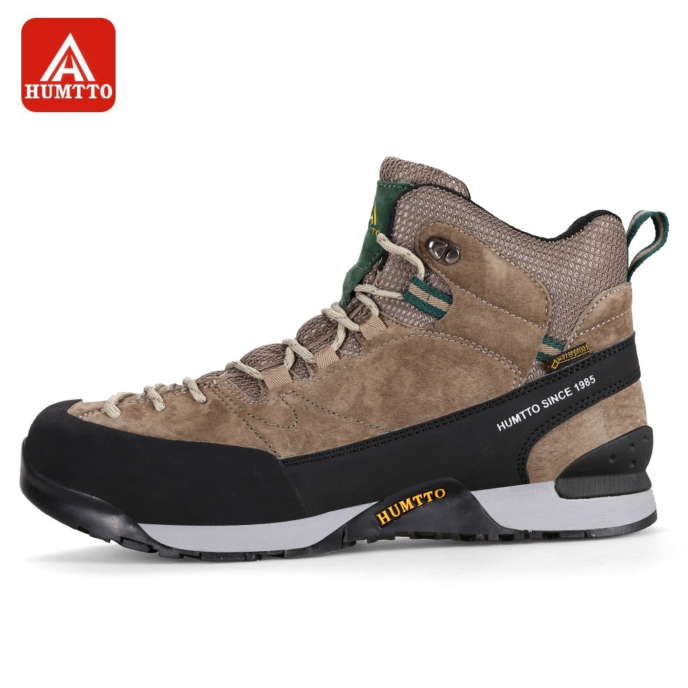 HUMTTO Men's Hiking Shoes Women Winter Outdoor Tactical Boots Breathable Genuine Leather High Cut Tourism Sneaker