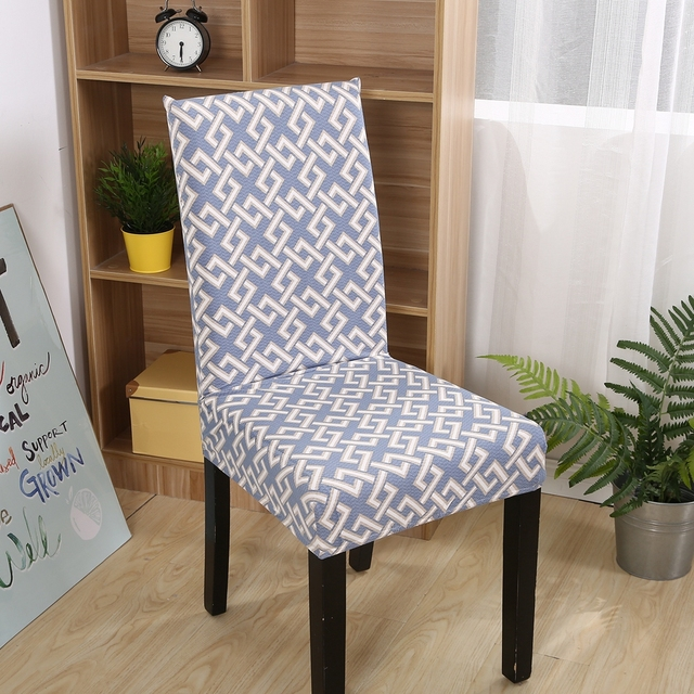 Chair Covers Modern Essex Fxqwkj Mysterious Geometric Pattern Print Stretch 2pc Removable Wedding Slipcover Polyester