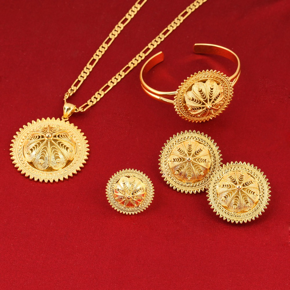 Girls Ethiopian Jewelry Set 24k Gold Color Sets For African ...