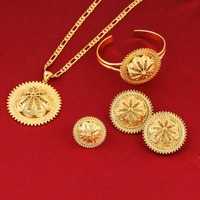 Girls Ethiopian Jewelry Set 24k Gold Plated Sets For African Ethiopian Eritrean Habesha Jewelry Sets
