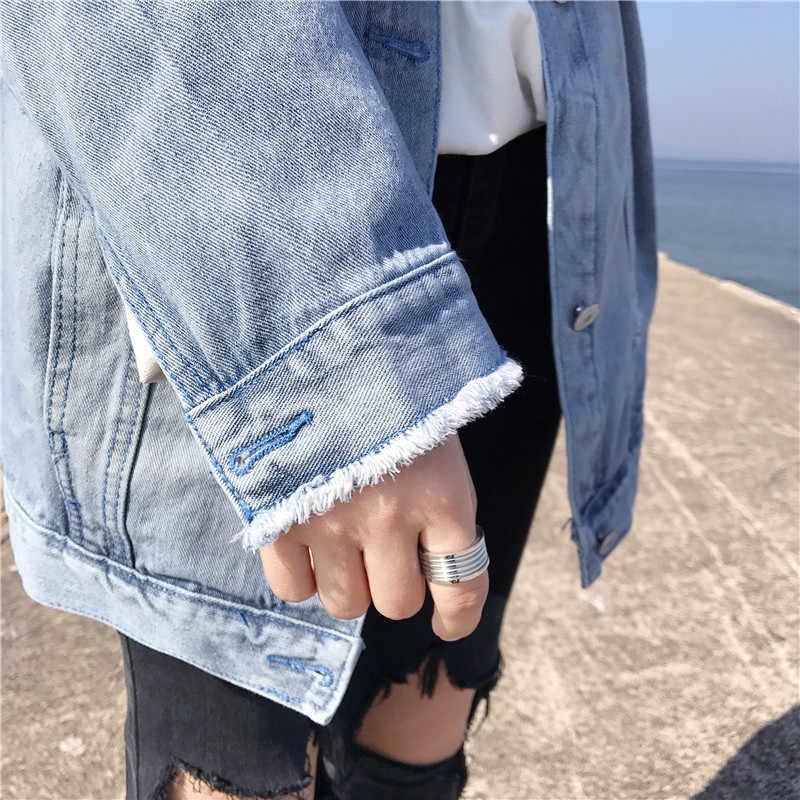 Womens Denim Jas Jeans Lente Casual Losse Cowboy Jassen Vrouwelijke Gebroken Gat Borduurwerk Denim Jas Retro Vrouwen Basic Jas