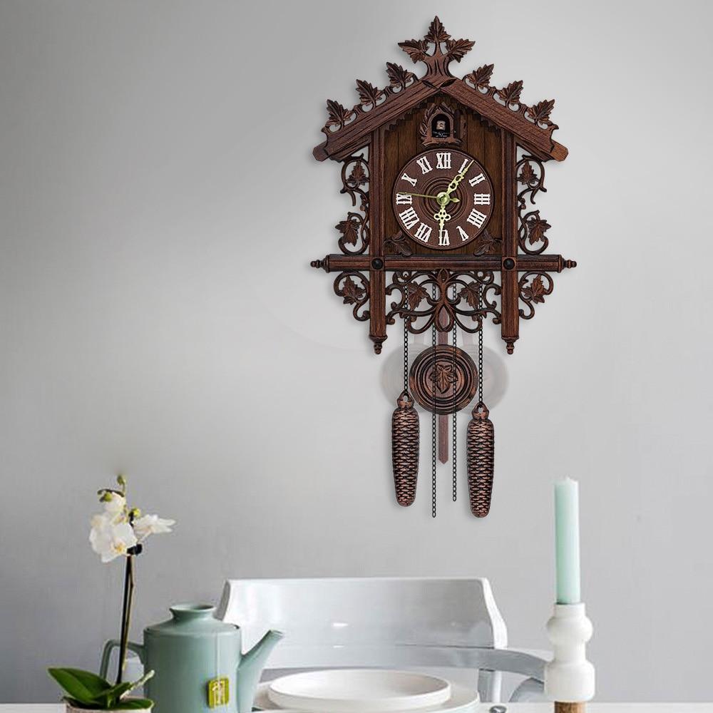 Vintage Style Handcrafted Wood Cuckoo Clock Tree House Swing Wall Cuckoo Clock Home Office Decor Alarm Clocks