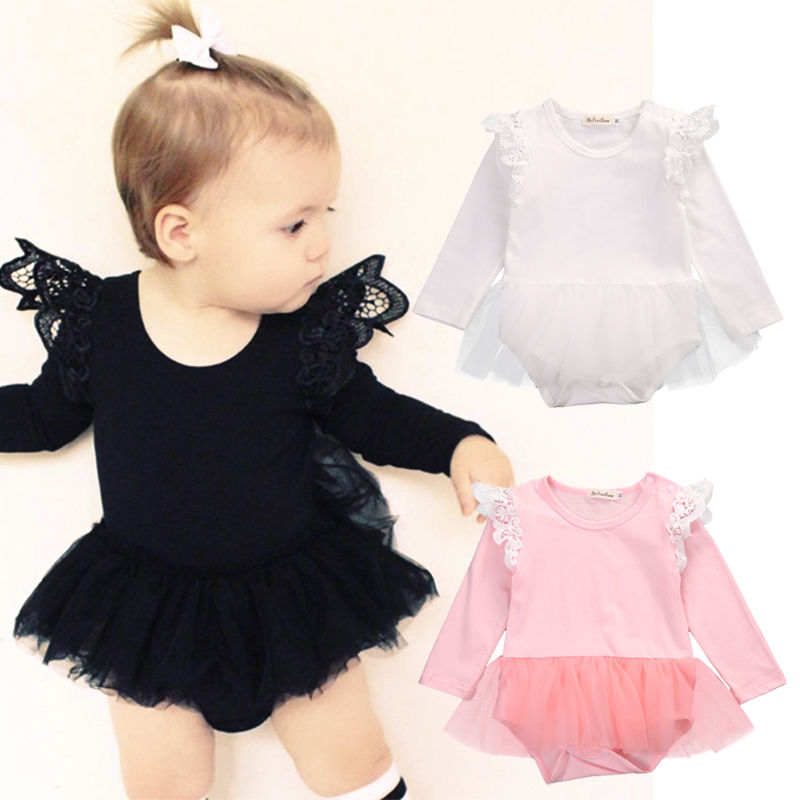 2017 Cute Newborn Baby Girl Lace Romper Fly Long Sleeve Cotton Clothes Tutu Skirted Jumpsuit Outfit Princess Sunsuit 0-24M cute newborn infant baby girl clothes set girls romper letter printed bodysuit floral tutu skirted bloomers short outfit sunsuit