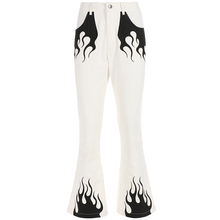 Rapwriter Casual Panelled Flame Print High Waist Long Flare Pant Women 2018 New Spring bottoms Slim Fit Long Trousers Pocket