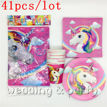 Party Set 41PCS Unicorn Cartoon theme party Tableware Paper Plate Moana Napkins For Kid Birthday Troll Party Supplies Decoration