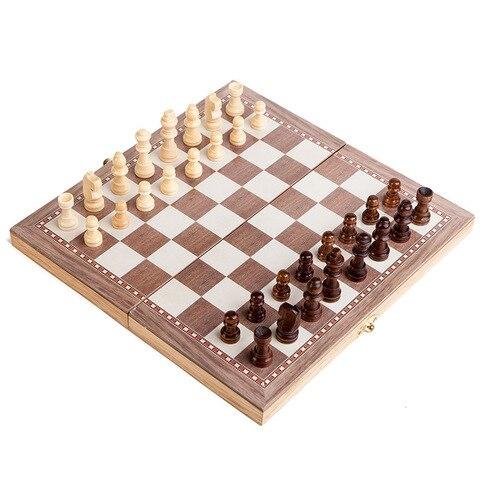 Dobrável de Madeira Peças de Jogo de Xadrez Jogo de Tabuleiro 3 em 1 Placa Internacional Conjunto Staunton Estilo Chessmen Coleção Portátil 30*30 cm Mod. 313474