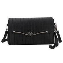 Vintage Women Bow Stripe Leather Crossbody Bag Messenger Bag Shoulder Bag High Quality bags 2018 for women