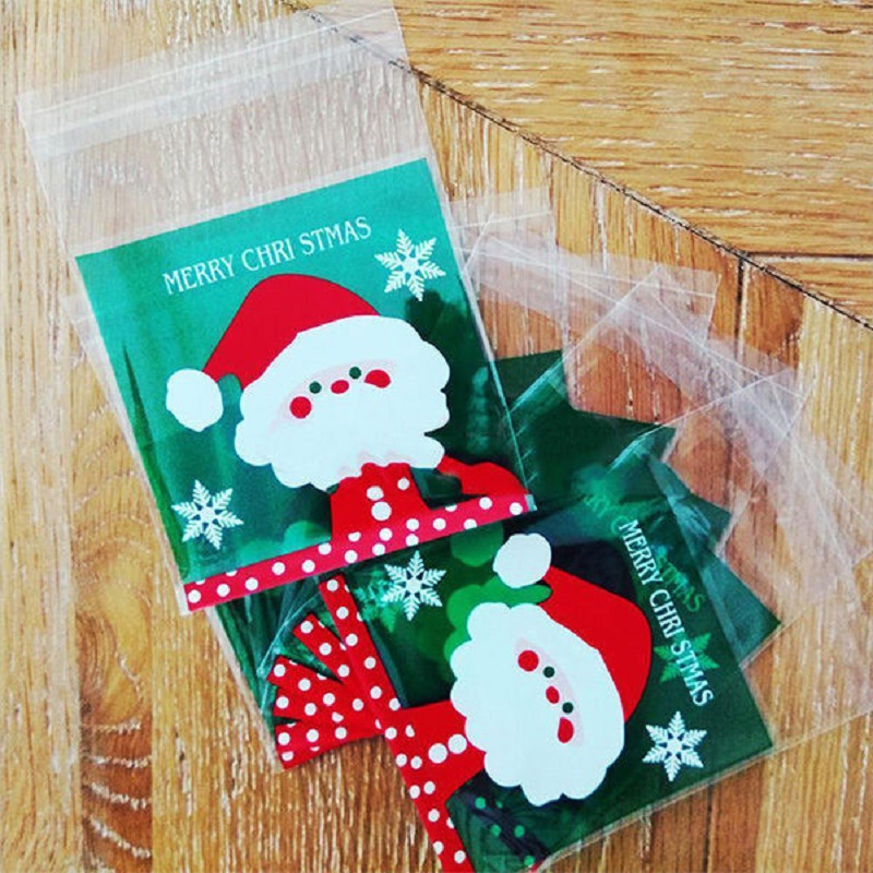 100 Santa Claus Bakery Cookie Candy Gift Soap Favor Cello Adhesive OPP Bag