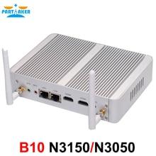 Partaker B10 Fanless Desktop Computer Mini PC Dual Lan Dual HDMI with Intel Celeron Dual Core N3050 N3150 Free WiFi Windows 10