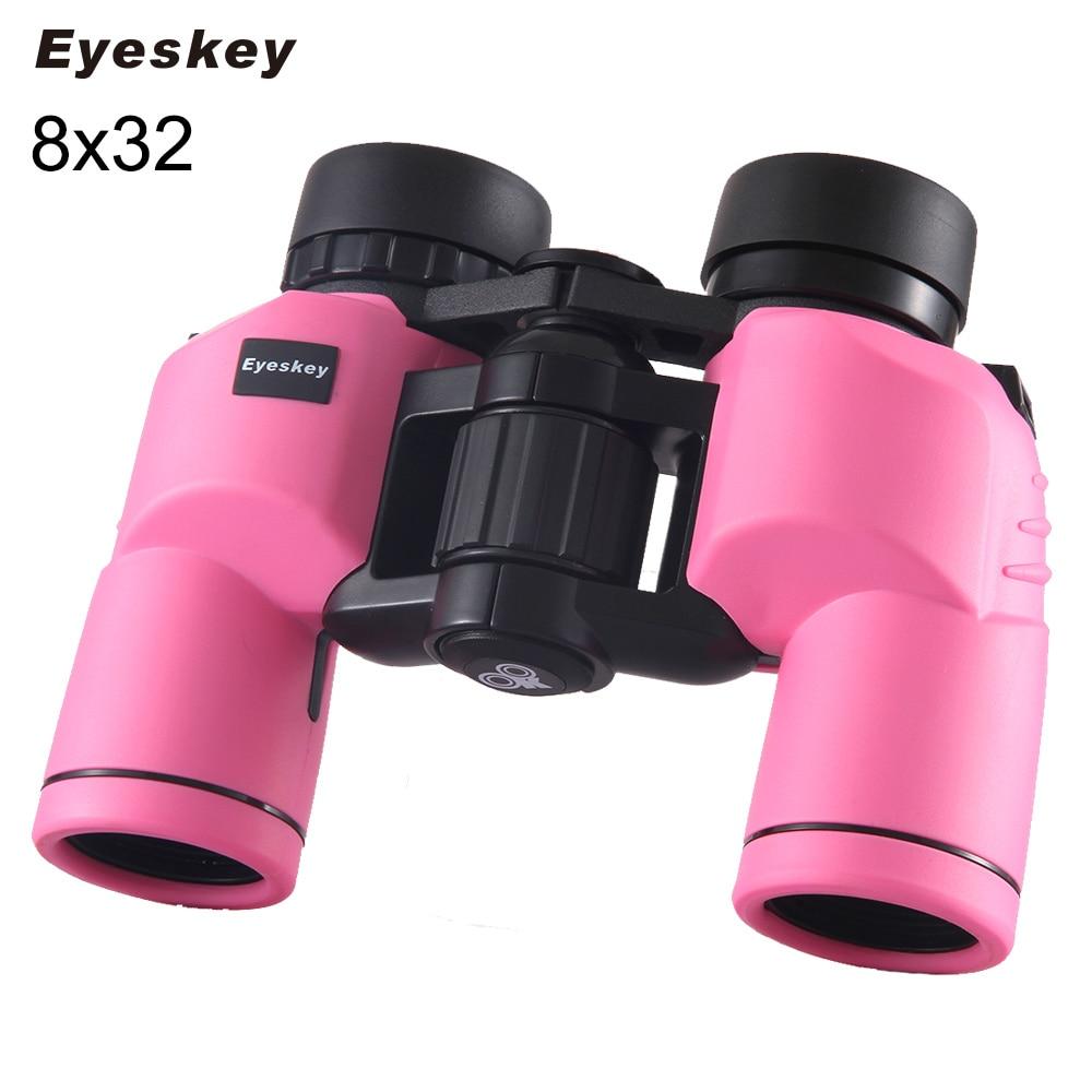 Pink/Black 8x32 Binoculars Eyeskey Porro Waterproof Binoculars Telescope Bak4 Prism Optics Compact for Camping celestron upclose g2 7x35 porro binocular 71250 hd multi coated optics lens professional binoculars for traveling hunting black