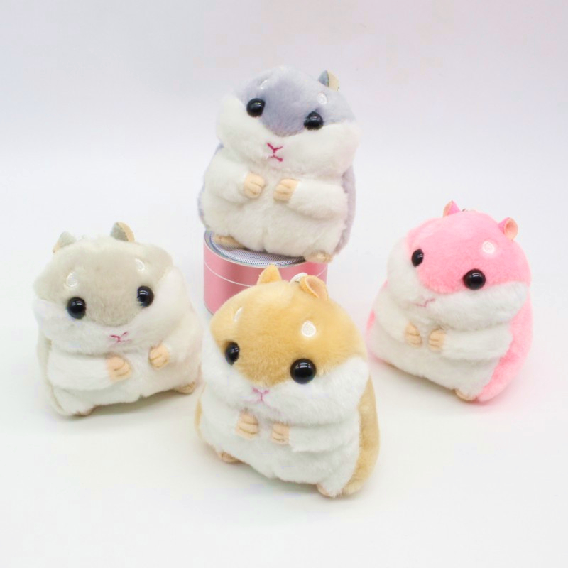 Fashion Cartoon Hamster Plush Doll Nyckelkedja Silver Ring Kvinna Väska Charms Pom Pom Nyckelring Mus Animal Toy Party Gift Trinket