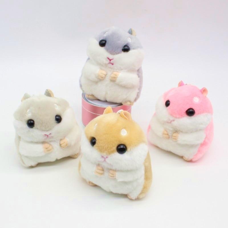 მოდის მულტფილმი Hamster Plush Doll Key Chain ვერცხლის ბეჭედი ქალის ჩანთა Charms Pom Pom Keychain Mouse Animal Toy Party საჩუქარი საცურაო