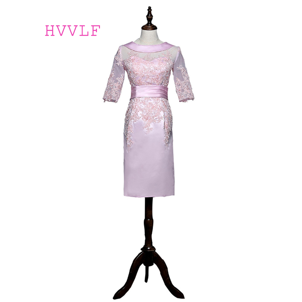 Pink 2019 Mother Of The Bride Dresses Sheath Half Sleeves Knee Length Appliques Lace Plus Size Groom Mother Dresses For Wedding