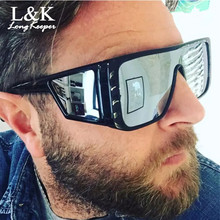 Windproof Sunglasses Women Men Reflective Oversized Mirror R