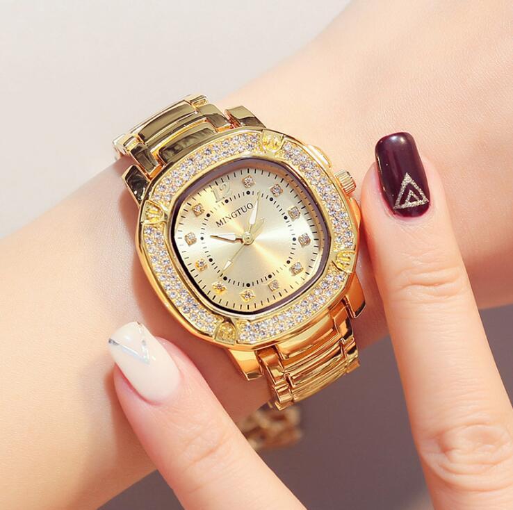 Luxe Dames Roségoud Horloge Merken Crystal Sliver Dial Fashion - Dameshorloges - Foto 3