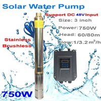 2 years guarantee solar submersible deep well pumps 2018 new solar pump 750W 48V 3.2T/H