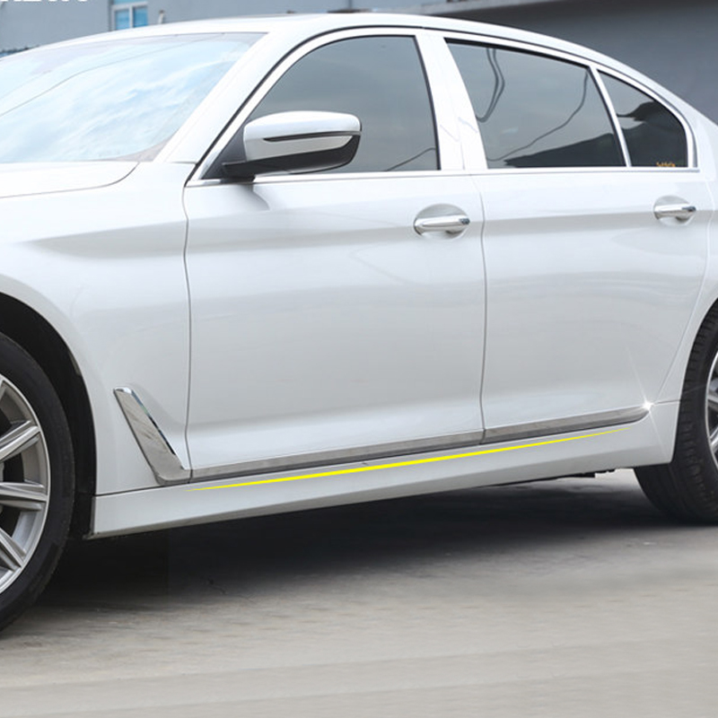6PCS ABS Plastic Chromed Car Door Body Bottom Mouldings For BMW 5 Series G30 2017-2018 abs chromed door lower window mouldings